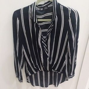 Zara Navy and white striped faux wrap blouse
